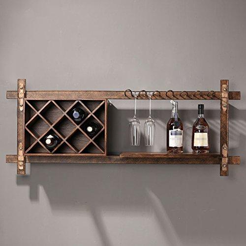 Liuxin Retro Eisen-feste hölzerne Wein-Zahnstangen-Wand-Regale, 121 * 37CM   Wand-hängende...