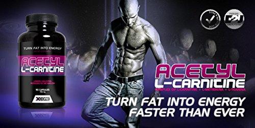 XCore 100% Acetyl L-Carnitine en gélules 500mg - Complément d'acides aminés de haute qualité pour la perte de poids, le mental et plus d'énergie. Formule avancée pour extra puissance - 90 gélules !
