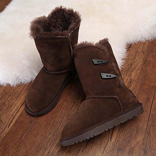 Heart&M stile nuovo inverno 2016 in pelle doppia fibbia tubo in pura lana termica neve stivali c