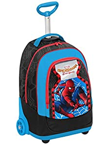 BIG TROLLEY MARVEL SPIDERMAN HOMECOMING - 2in1 Wheeled Backpack with Disappearing Shoulder Straps - Black Blue Red 31Lt by Seven