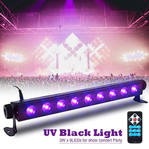 UV Beleuchtung SOLMORE 3 Modi LED Schwarzlicht Bühnenlicht Bühnenscheinwerfer mit Fernbedienung für Supermärkte Hochzeitsfeiern Geburtstage Geschäfte Konzert Halloween 9LEDs Uv-led