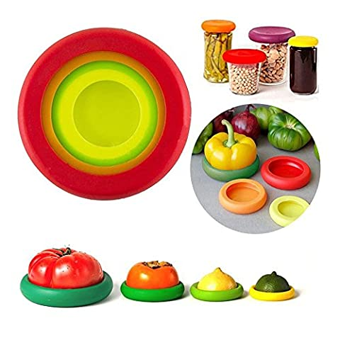 Maphissus Food Huggers Reusable Silicone Food Savers Flexible Silicone Fruit Vegetable Greens 4Pieces/