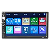 iMounTEK - Lettore MP5 universale BT per auto, da 7 pollici, 1080p, stereo, audio, radio FM, ingresso Aux/USB/TF, con telecomando per telecamera posteriore