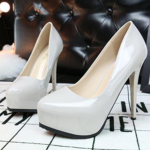 nudo gray colore con e sottile Stati negli pattini Europa donne singoli Asakuchi scarpe Uniti sexy in tacco donna alto il qvxwzqSH4