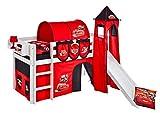 Lilokids Spielbett Jelle Disney Cars, Hochbett mit Turm, Rutsche und Vorhang Kinderbett, Holz, weiß, 198 x 98 x 113 cm
