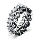 Epinki Vergoldet Damen Ringe Quadrat Kristall Silber Schwarz Ring Glänzend Verlobungsringe Heiratsantrag Ring Gr.52 (16.6)