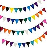 TaleeMall Fanion en tissu de feutre mou multicolore, bannière bunting double face avec 30 mètres stap, drapeaux 48pcs en 10 couleurs.  Ajustement parfait pour la décoration d'anniversaire de mariage de fête d'anniversaire de bébé.