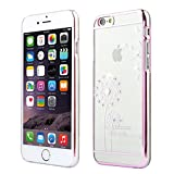 GrandEver Phone Holster Transparent Hard Case, Schwer Hülle Löwenzahn Pattern Etui für Apple iPhone6 4.7, Glänzend Telefon-Kasten Schutzhülle für Mädchen, Handy Taschen für iPhone6 4.7, I Love Freedom (Rosa)