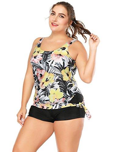 BOZEVON Costumi da Bagno per Donna Plus Size Floral Tankini Set Bikini Due pezzi Swimsuit multicolore-Stile B