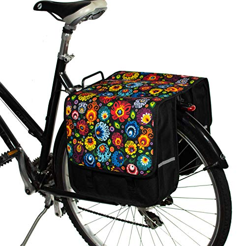 BikyBag Klassisch L - Doppel Fahrradtasche Gepacktragertasche (Folklore-Blumen)