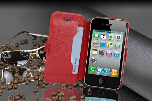 Cadorabo - Ultra Slim Book Style Cover for >            Apple iPhone 4 / 4S            < with Card Slot and Stand Function - Etui Case Protection Skin in ICY-SCHWARZ ICY-ROT