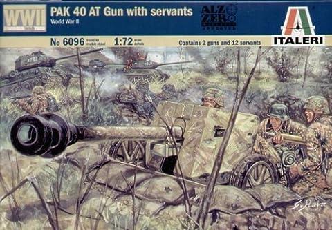 Italeri WW2 German PAK 40 Anti-Tank Gun with Crew - 1/72 Plastic Kit