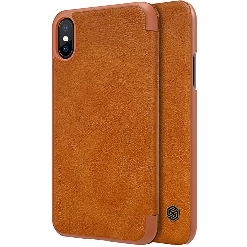 BCIT iPhone X Hülle - Fortgeschrittene PU Leder Flip Cover Ledertasche Handyhülle Tasche Case für iPhone X - Weiß Braun
