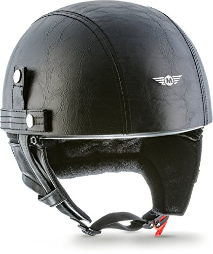 "Moto Helmets® D22 ""Leather Black"" · Brain-Cap · Halbschale Jet-Helm Motorrad-Helm Bobber · Fiberglas Schnellverschluss SlimShell Tasche M (57-58cm)"