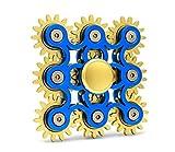 Edler Fidget Spinner 9 Zahnräder aus Metall lange Drehzeit bis 5 min + Metallbox Hand Toy Finger Spielzeug (blau)