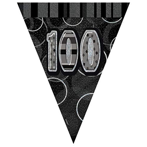 Unique Party Flag Banner Color negro edad 100 90810