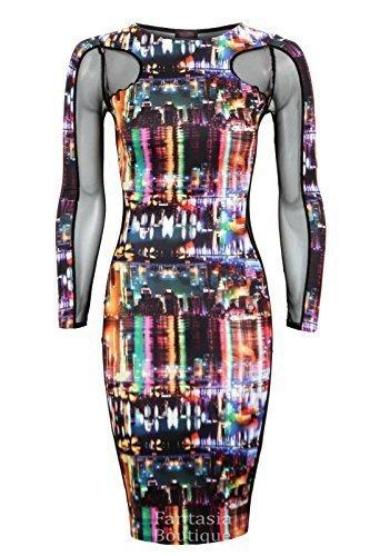 FANTASIA BOUTIQUE Neu Damen Langärmlig Netzeinsatz City Lichter Aufdruck Damen Bodycon Kleid City Lichter