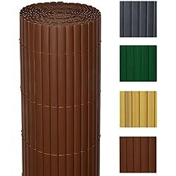 Sol Royal PVC Sichtschutz-Zaun SolVision - 100x400cm Braun - Windschutz Kunststoff-Matten Garten Balkon Terrasse