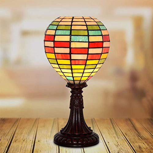 ZLL Household Bedside Table Lamp, Decoration Desk Lamp, Studentye Protection Table Lamp, Home Hotel Lighting Stained Glass Hot-Air Balloon Table Lamp Bedroom Bedside Study Rainbow Lantern Decoration