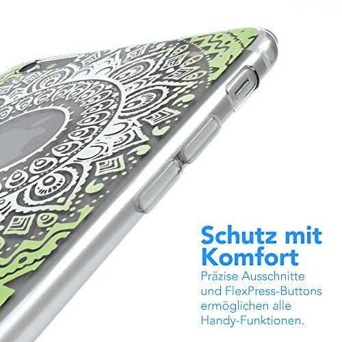 """Apple iPhone 6S Plus / 6 Plus Hülle, EAZY CASE Cover """"Henna"""" - Premium Handyhülle mit Indischer Sonne - Transparente Schutzhülle in Weiß Transparent Weiß / Grün"""