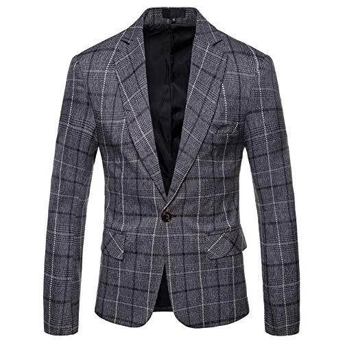 YFFUSHI Herren Kleid Plaids Anzug fallendem Revers one Tasten stilvolle beiläufige Blazer-Jacke x-Large dunkelgrau - Kerbe Revers Single