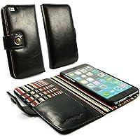 Alston Craig Custodia portafoglio di pelle genuino Vintage per Apple iPhone 6 Plus - Nero