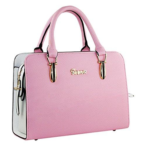 MissFox Borsa Donna Elegante A Mano Shopping Bag Da Spalla Cerniera Pink
