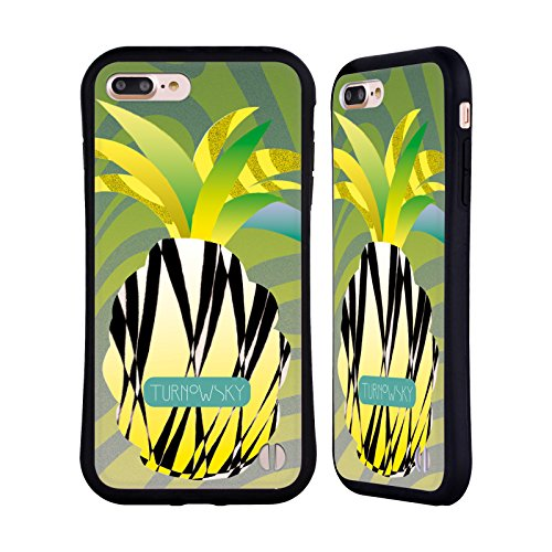 Ufficiale Turnowsky Modelli Floreali 2 Diamante Nero 2 Case Ibrida per Apple iPhone 7 Plus / 8 Plus Ananas