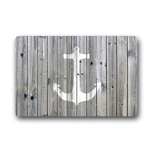 ormis Vintage Retro Anker Flanell Mikrofaser Bad Teppich–grau und weiß rutschfeste weiche saugstarke Küche Boden Badteppich Teppich (40,6cm W x 61cm L) (Anker-bad-handtücher)