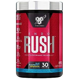 Bsn Endorush Pre Workout Powder With Creatine Monohydrate, Beta Alanine, Caffeine, Arginine & Citrulline By - Blue Raspberry, 30 servings, 495g
