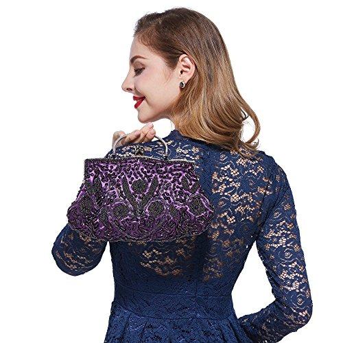 H:oter® Collection Damen Handgemachte Perle Handtasche, Abendtasche Damen Clutch Für Party, Hochzeit Lila
