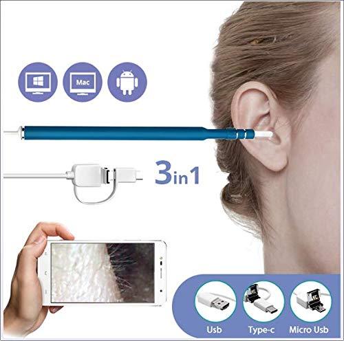 CHRRI Ohrreinigungs-Otoskop, 3 In 1 USB-Vision-Ohren Reinigung Endoskop-Löffel-Funktionsdiagnostik-Tool 720P Kamera-Ohren Auswahl