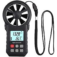 Anemómetro Digital Medidor de Velocidad y Temperatura del Viento Anemómetro Profesional Pantalla LCD con Luz Medidor de Volumen de Aire
