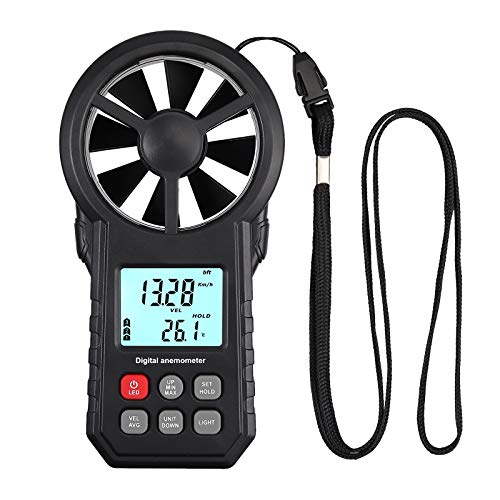 CAMWAY Digital Anemometer Windmesser, LCD Wind Speed Meter Gauge Air Flow Geschwindigkeit Hintergrundbeleuchtung, für Segeln Windsurfen Drachensteigen, mit Taschenlampe Schlüsselband