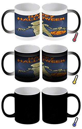 LEotiE SINCE 2004 Zaubertasse Farbwechseltasse Kaffeebecher Tasse Becher Latte Cappuccino Espresso Fun Küchen Happy Halloween