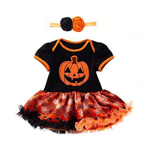 Romantic Kleinkind Baby Mädchen Halloween Kostüme Kinder Kurzarm Stramplerkleid Mädchen Kürbis Geist Kostüme Tutu Rock Mädchen + Stirnband Baby 2er Set für Cosplay Halloween Verkleiden Kostüme