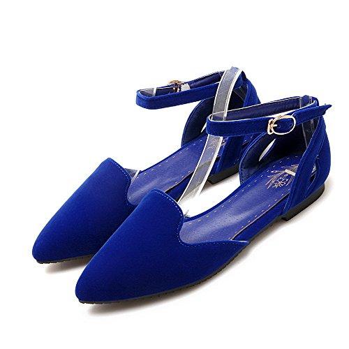 VogueZone009 Femme Couleur Unie Dépolissement Non Talon Boucle Pointu Chaussures à Plat Bleu