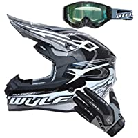 Wulfsport Sceptre Casco Moto Adulto del Motocross Negro S (55-56cm) ECE 2205