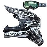 Wulfsport Sceptre Casco per Adulto Motocross Cross e Off-road Nero S (55-56cm) Omologato ECE 2205 + Guanti per Adulti (S 8cm)+ Occhiali per Adulti
