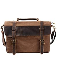 ca3b6e20c1 S-ZONE Mens Vintage Canvas Leather Messenger Traveling Briefcase Shoulder  Laptop Bag Handbag