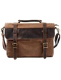 S-ZONE Mens Vintage Canvas Leather Messenger Traveling Briefcase Shoulder  Laptop Bag Handbag 26dad089f2500