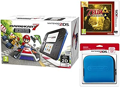 Nintendo 2DS - Consola, Color Azul + Mario Kart 7 (Preinstalado) + Zelda A Link Between Worlds + Funda, Color Azul
