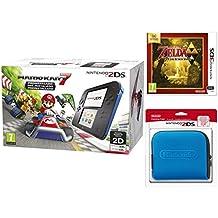 Nintendo 2DS - Consola, Color Azul + Mario Kart 7 (Preinstalado) + Zelda A Link Between Worlds + Funda, Color Azul