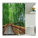 AieniD Badezimmer Deko Lila Straße Im Wald Bunt Bad Vorhang Size:180X200CM