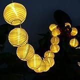 Deallink 20er Lampions LED Lichterkette mit Batteriehalter Garten Außen- und Innenbereich 2,2 Meter Warmweiß(AA Batteriebetrieben)