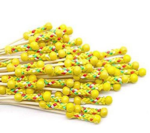 Amarillo Kentop 100pcs Palillos para C/ócteles Decoraci/ón de Pastel Palillos para Fiesta y Boda Decoraci/ón Size 12CM