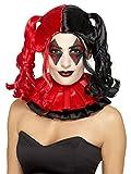 Smifis Kostüm Zubehör Damen Perücke böser Harlekin schwarz-rot Halloween