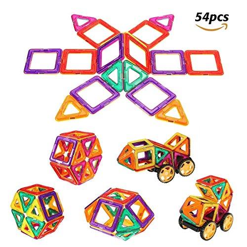 FUNTOK Magnetische Bausteine 54 PCS Magnetblöcke Set Kinder Frühkindliche Bildung Spielzeug Geduldsspiel Spielzeug Puzzle Spiele für Vorschule Kinder Jungen und Mädchen