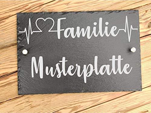 Haus-Türschild individuelle personalisiert mit Familiennamen | Namensschild für den Eingangsbereich für Familien | Hausschilder aus Schiefer 25 x 25 cm | Geschenk zum Einzug mit Befestigungsmaterial