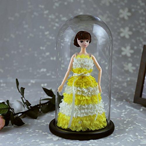 Day Geschenk an die Tanabata Valentine 's Day Geschenk GIANT Glas Cover Nelke Puppe Creative Neuheit Geschenk gelb ()